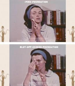 vintage-1960s-makeup-tutorial5-pink-foundation
